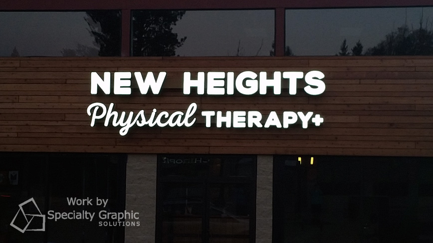 Physical Therapy sign gets noticed at night with LED lighting, Portland OR.jpg