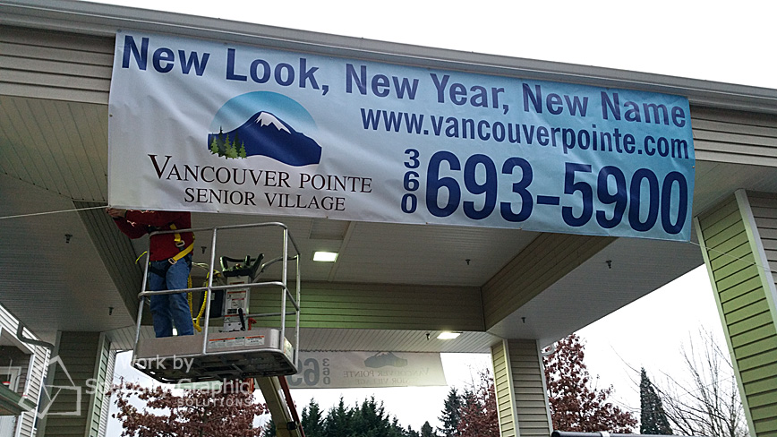 Hanging 18' x 5' banners for Vancouver Pointe Senior Village.jpg