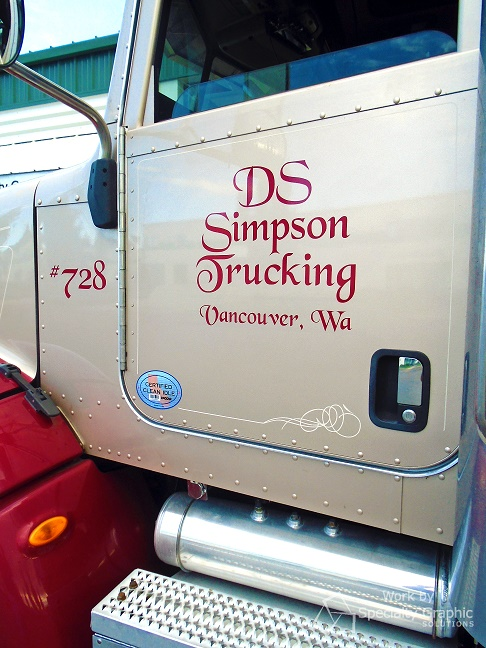 Metallic truck door lettering Vancouver WA.jpg