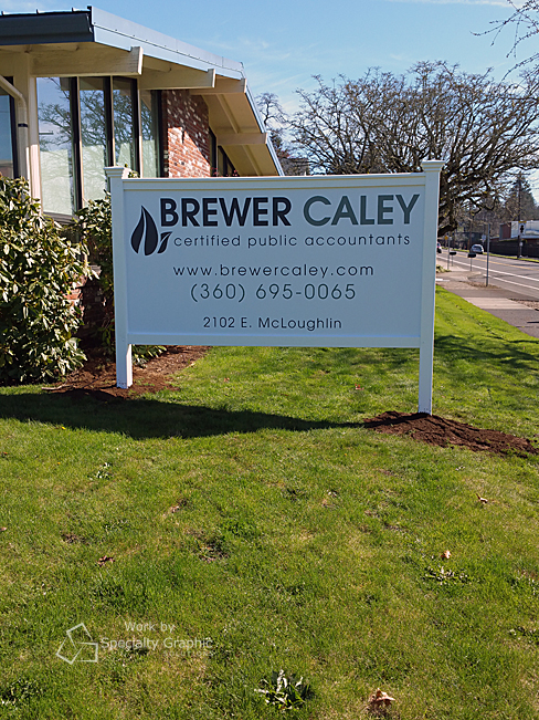 New Brewer Caley CPA sign looks great in an easy-care white vinyl frame.jpg
