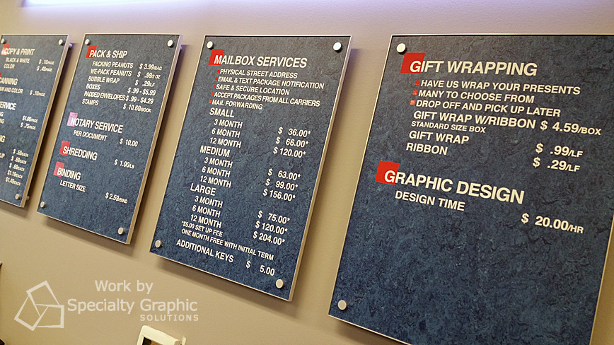 Custom pricing signs for Postal Connections store Vancouver WA.jpg