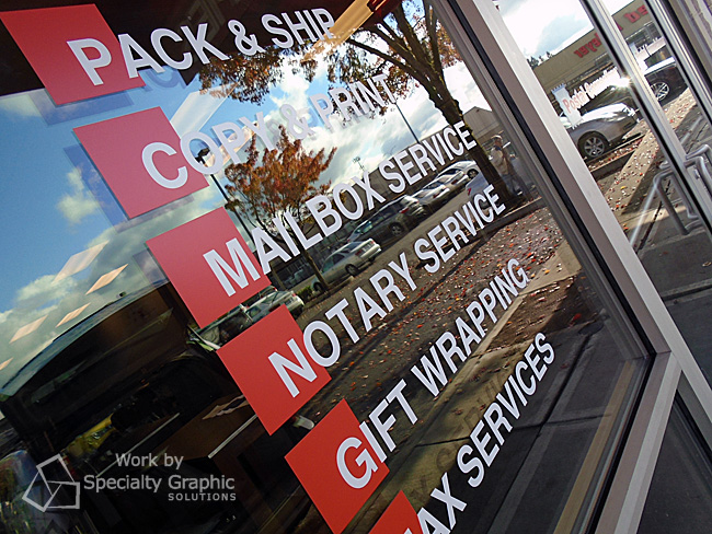Window graphics for new Postal Connections location, Hwy 99 Vancouver WA.jpg