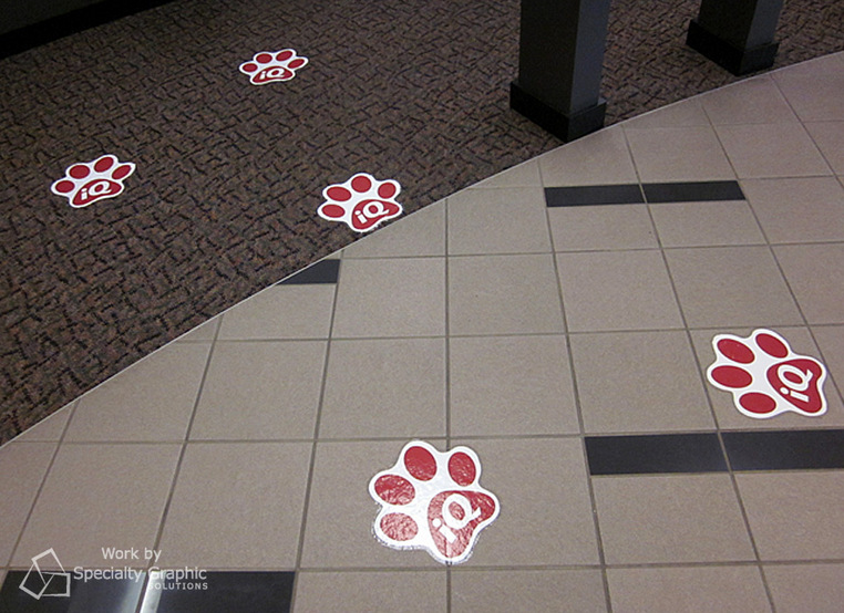 Floor graphics with logos in Vancouver WA