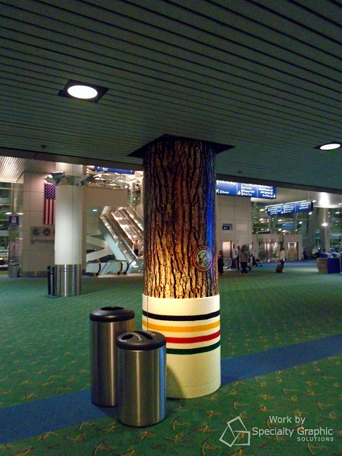 Vinyl pole wraps for retailers at PDX