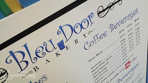 Menu board printed on canvas for Bleu Door Bakery.