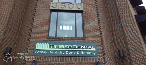 Raised logo building sign for Timber Dental in Portland OR