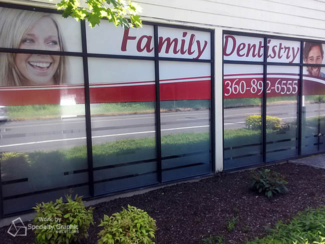 Perforated window graphics for Advanced Dental Concepts.