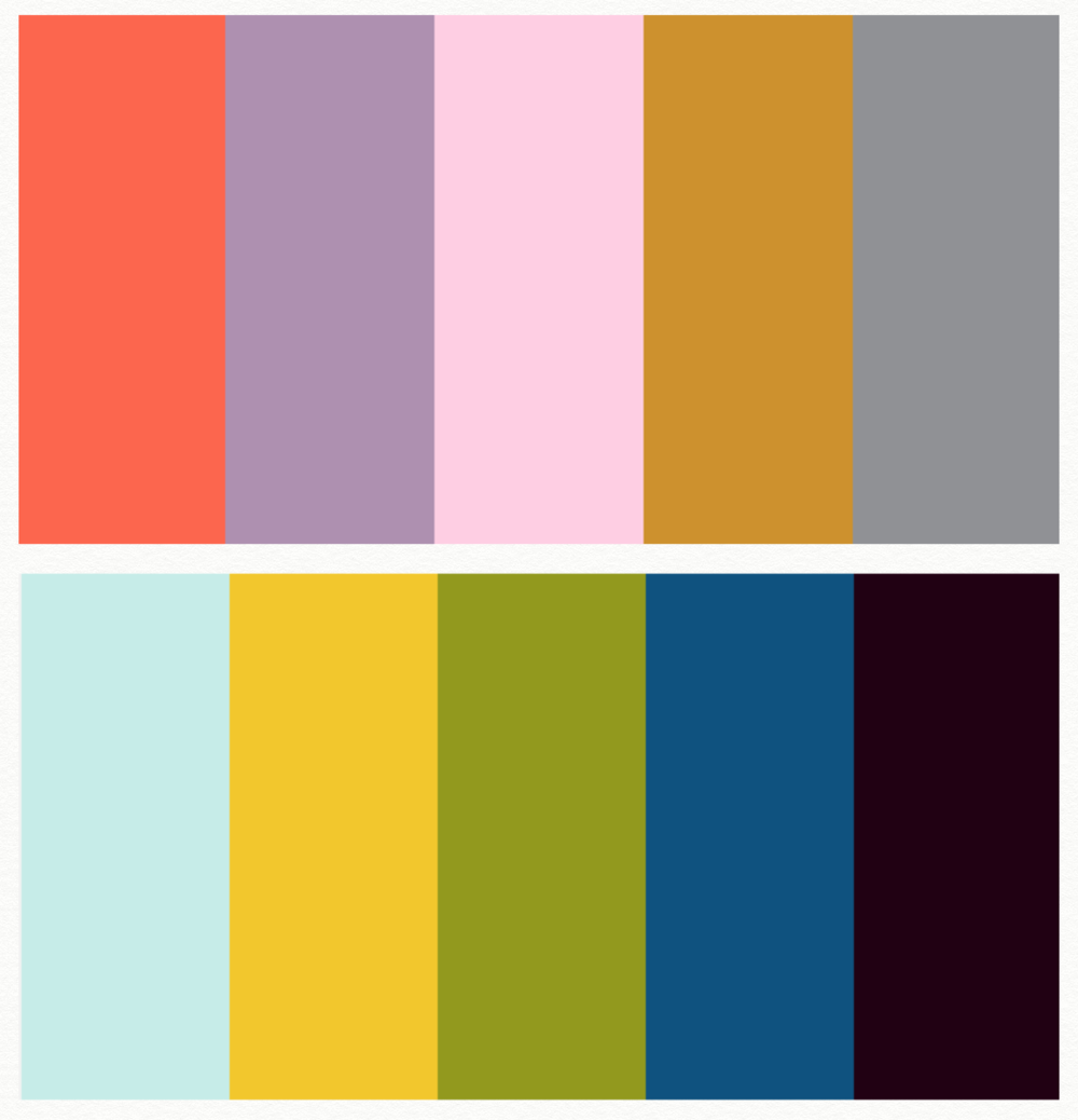 My spring colour cheat sheet: I replaced the dark purple on the bottom right with Navy, after the fact, for a more harmonious palette.