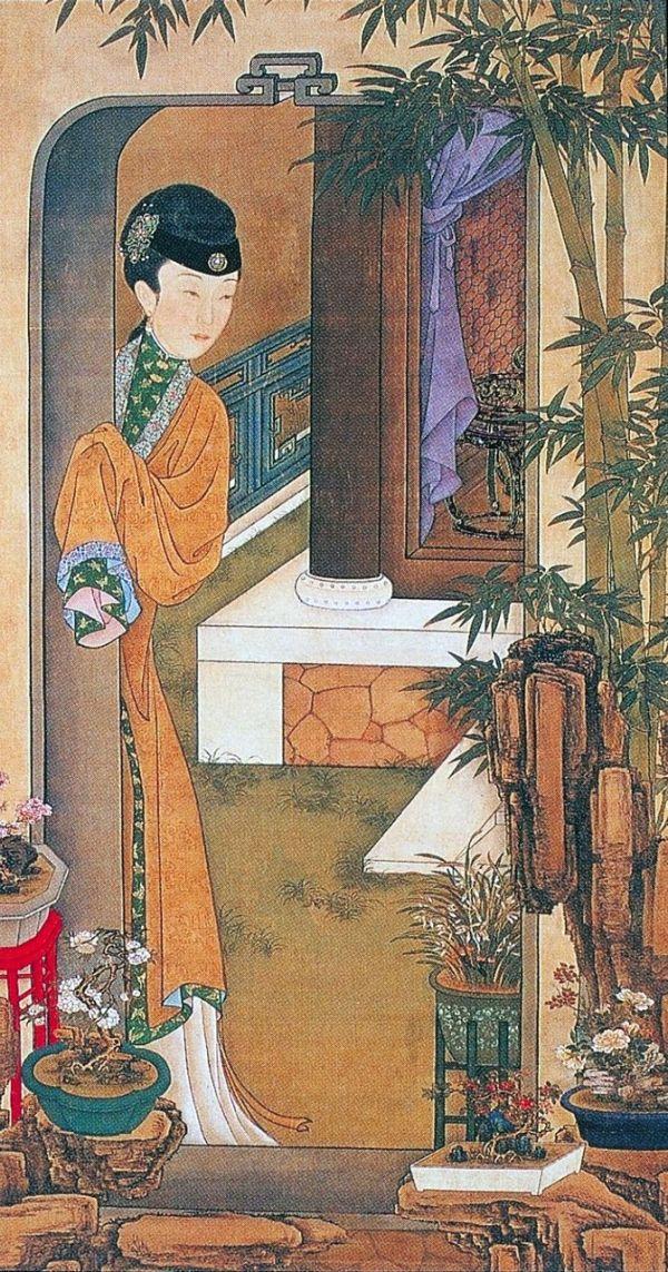 8,倚門觀竹: 庭院中花草竹石滿目,並擺放著香蘭、月季等各色盆景,爭奇鬥豔,以婀娜的姿態點綴出俏麗的景緻。仕女倚門觀望著滿園春色,舉止間似乎流露著淡淡的嘆春情懷。