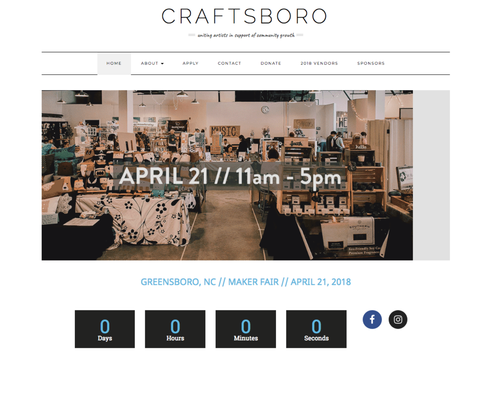 Site built on Wordpress for Craftsboro, a craft show in Greensboro, NC.