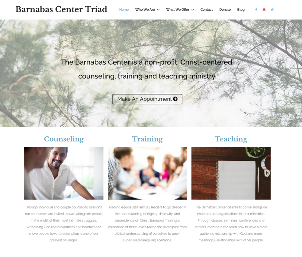 Site built on Wordpress for Barnabas Center Triad, a counseling center based in North Carolina.