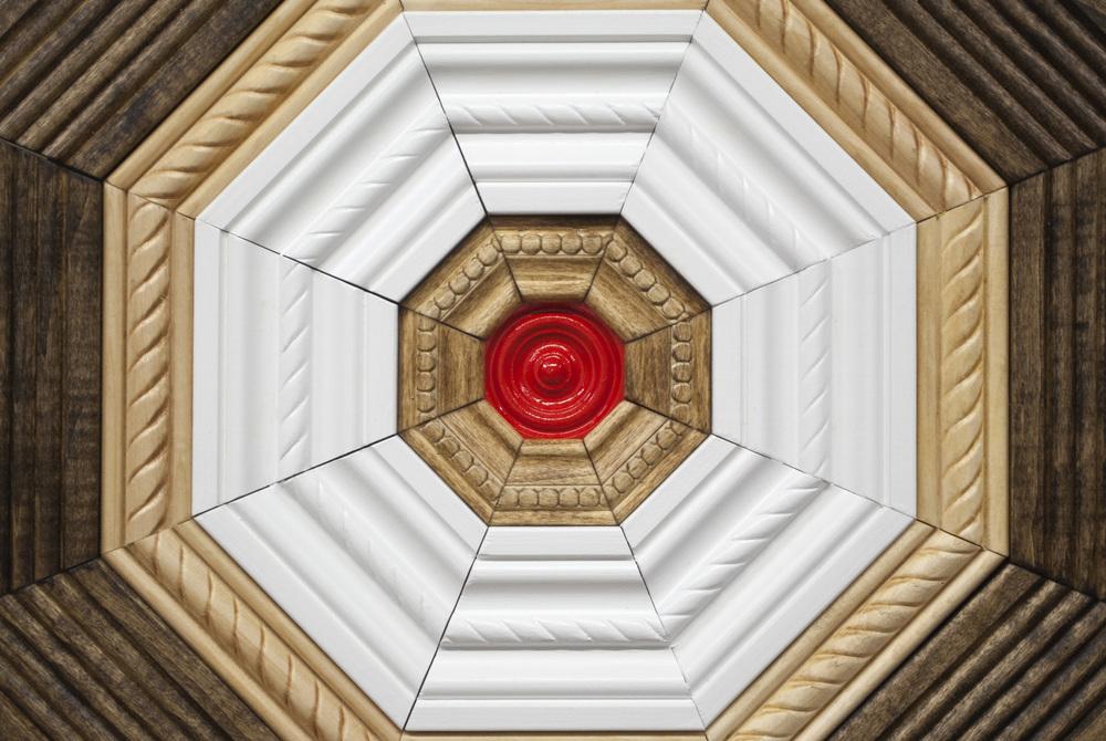 Crown (2016), crown moulding, latex / enamel paint, pine, carpet, caulk guns, hardware, various dimensions