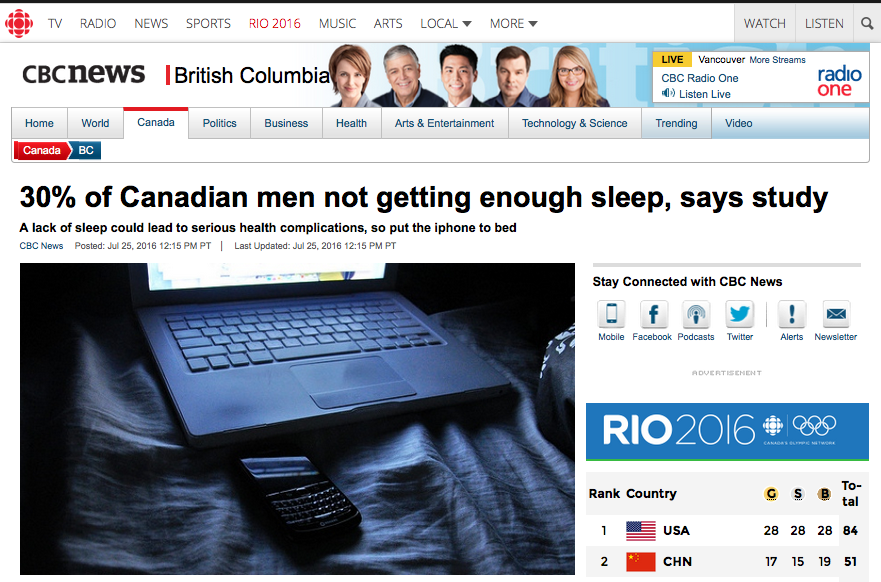 "CBC: ""A lack of sleep could lead to serious health complications, so put the iPhone to bed.""   Image: CBC"