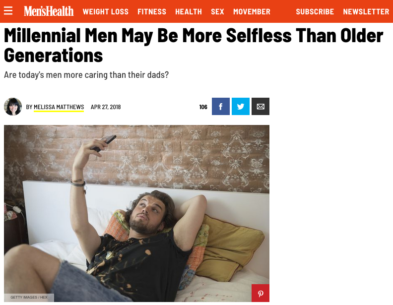 """Men's Health: """"The study was conducted through interviews… and the conversations highlighted how younger generations feel they have more freedom to be sensitive.""""  Image: Men's Health"""