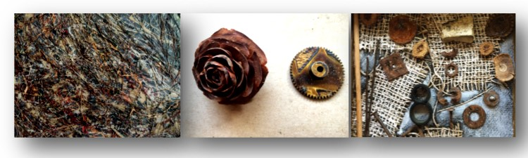Tech and nature in my artwork: painting that includes pine needles and computer resistors; juxtaposed gear and pine cone; acorns and rusted washers in a mixed media piece.