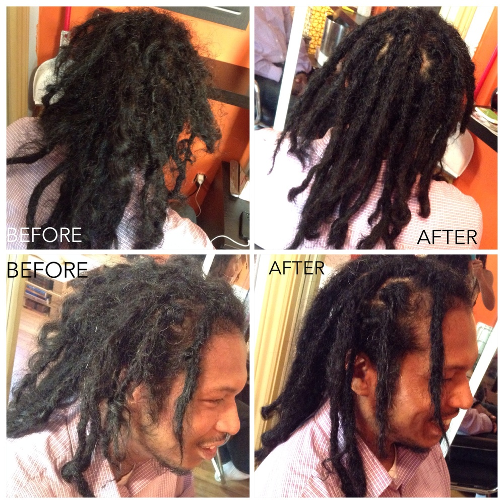 Black & Philipino client with thick strands of multiple textured hair and lots of loose flyaways. By #CleanLocs