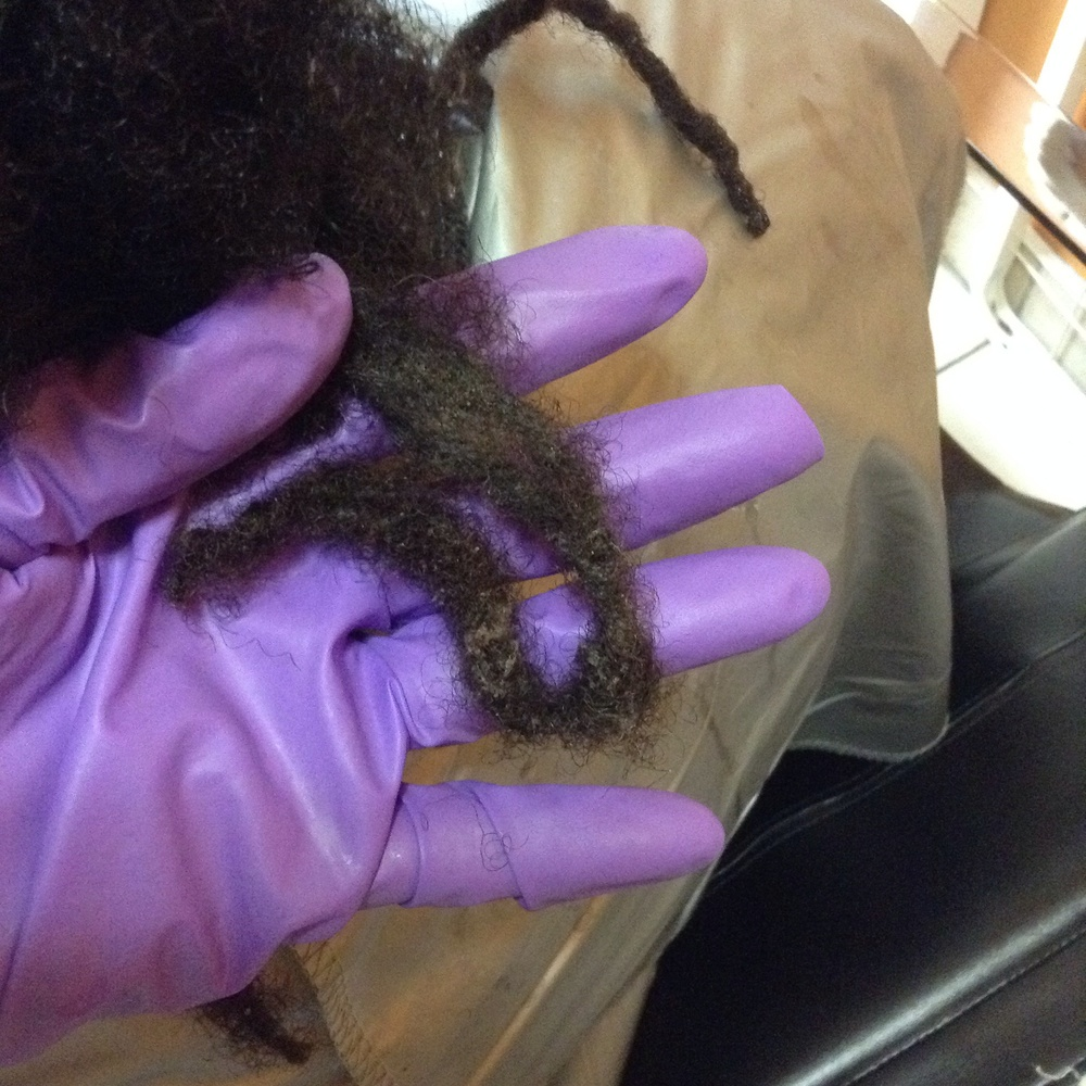One year since the last visit to #CleanLocs. This Loc was extremely dense with product and lint, it is a lot softer, fluffier and far less dense, although in tact, part way through the #LocDetailing process.