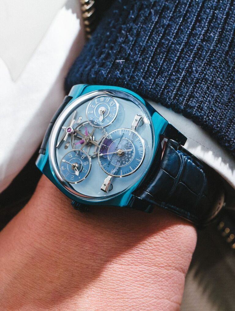 Complication One Blue shown here with a bespoke blue lacquer dial and shadowed blue sub dials