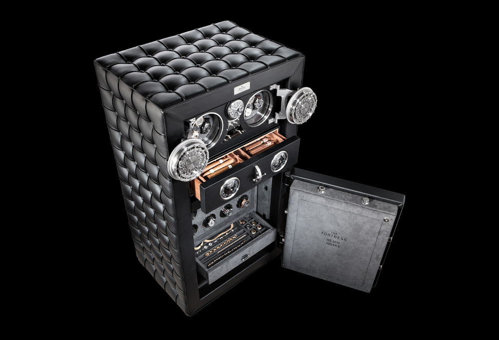 "The Fortress is the safest limited edition luxury safe in the world, available in the certified security classes VdS/EN 3 to VdS/ EN 5. It is ready for connection to a burglar alarm including a ""silent alarm"" function and, in the configuration, provides tested and certified insurance cover up to $1,000,000."