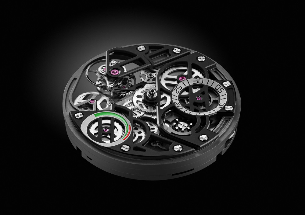 Manufacture Angelus A-150 calibre: tourbillon, fly-back double column wheel chronograph, split-seconds (rattrapante), power reserve indicator, self-winding. © ANGELUS SA