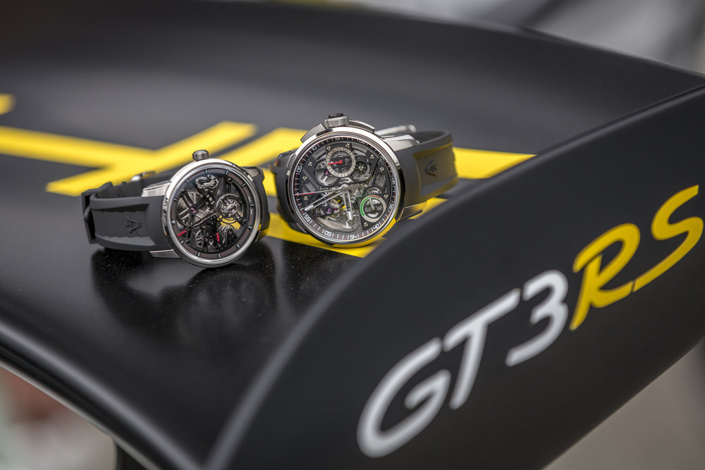 Angelus U40 Racing Tourbillon Skeleton and U30 Tourbillon Rattrappante. Porsche GT3RS. Photo Cred: Ted7