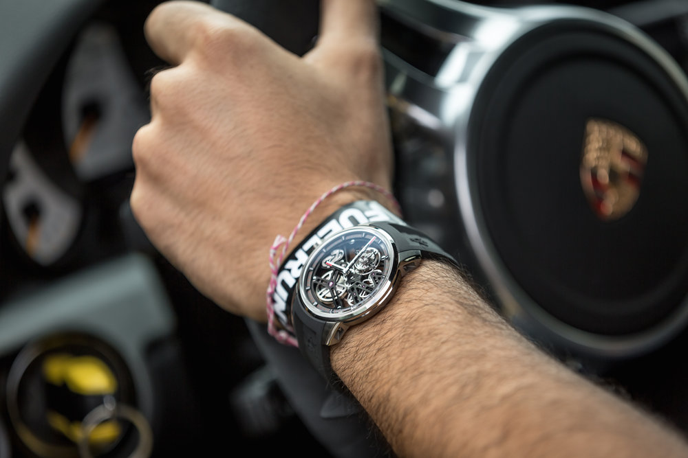 U40 Racing Tourbillon Skeleton. Manufacture Angelus A-300 tourbillon calibre: one-minute flying tourbillon, skeletonized, hand-wound. Case: grade 5 titanium, box sapphire crystal, diameter 42 mm, thickness 10 mm. Porsche GT3RS. Photo Cred: Ted7