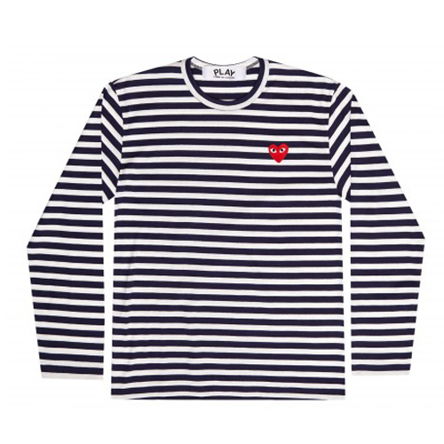 Commes Ges Garcons Striped Play T-Shirt