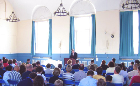 First morning worship service – held at the American School for the Deaf