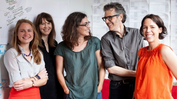 Sarah Koenig (centre), creator and host of Serial, with Ira Glass and the Serial team.