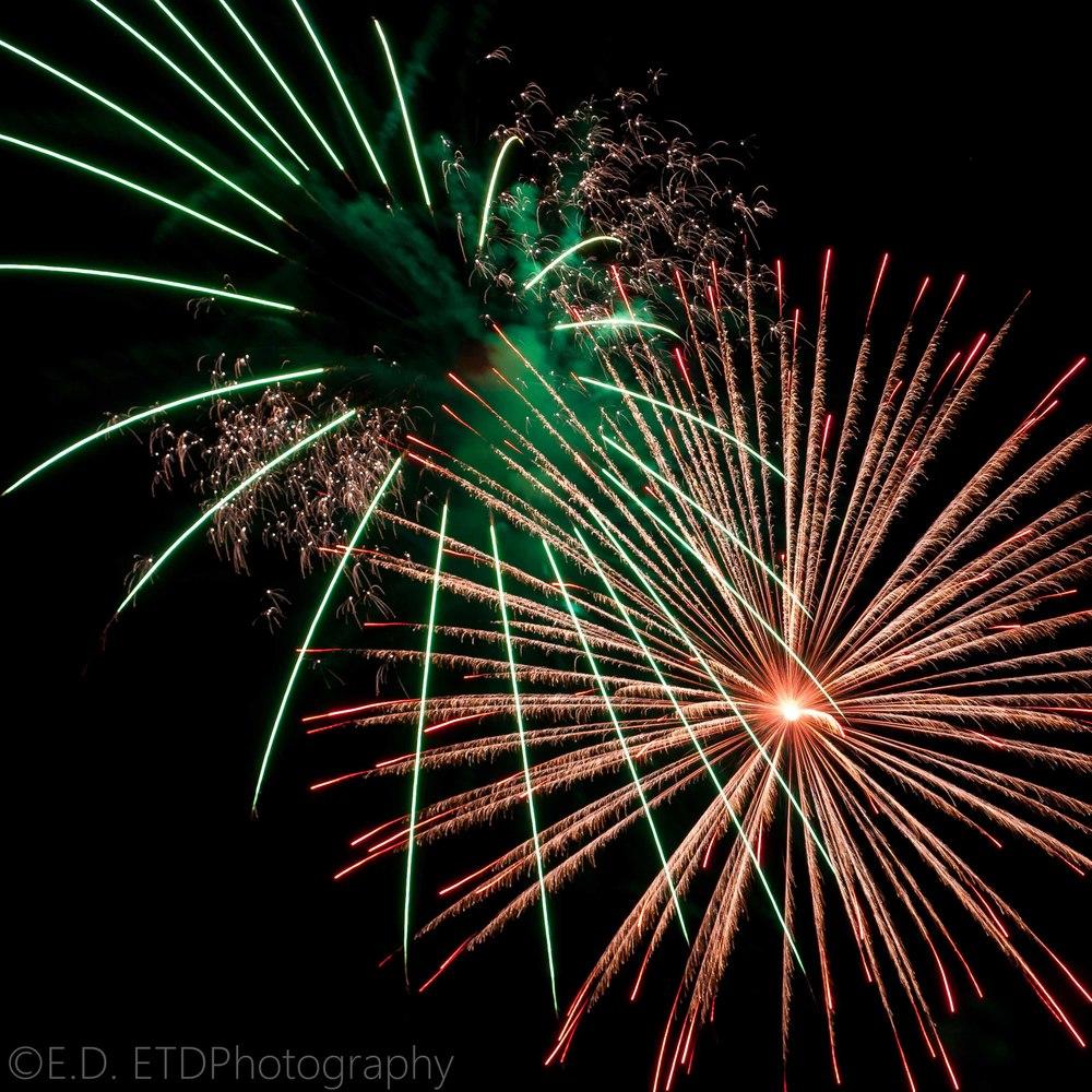 Longer shutter speeds are great for fireworks:Nikon D60 18-55mm @55mm f/9 1.5 sec. ISO - 100