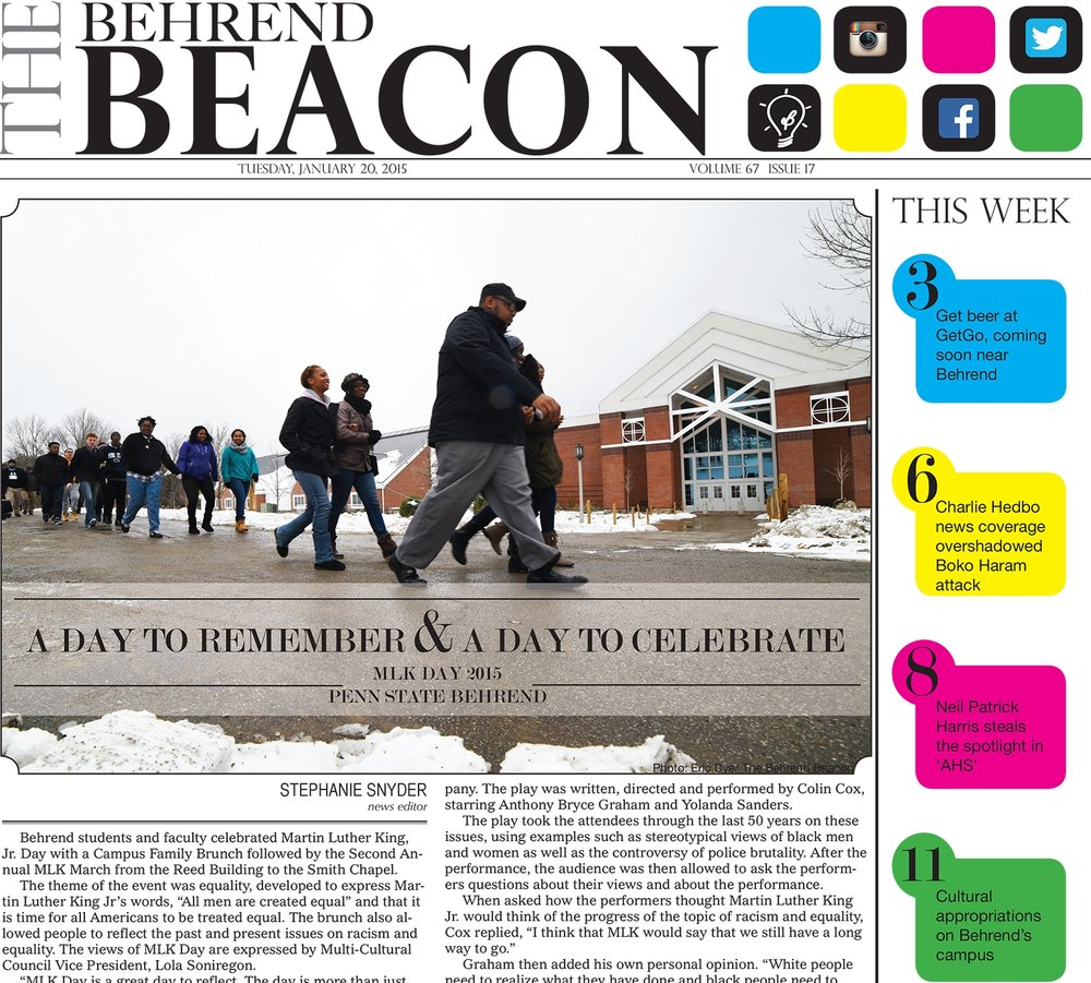 Experiences at The Behrend Beacon included pagination, graphic design, infographics, photography, writing, editing, management, and data visualization.