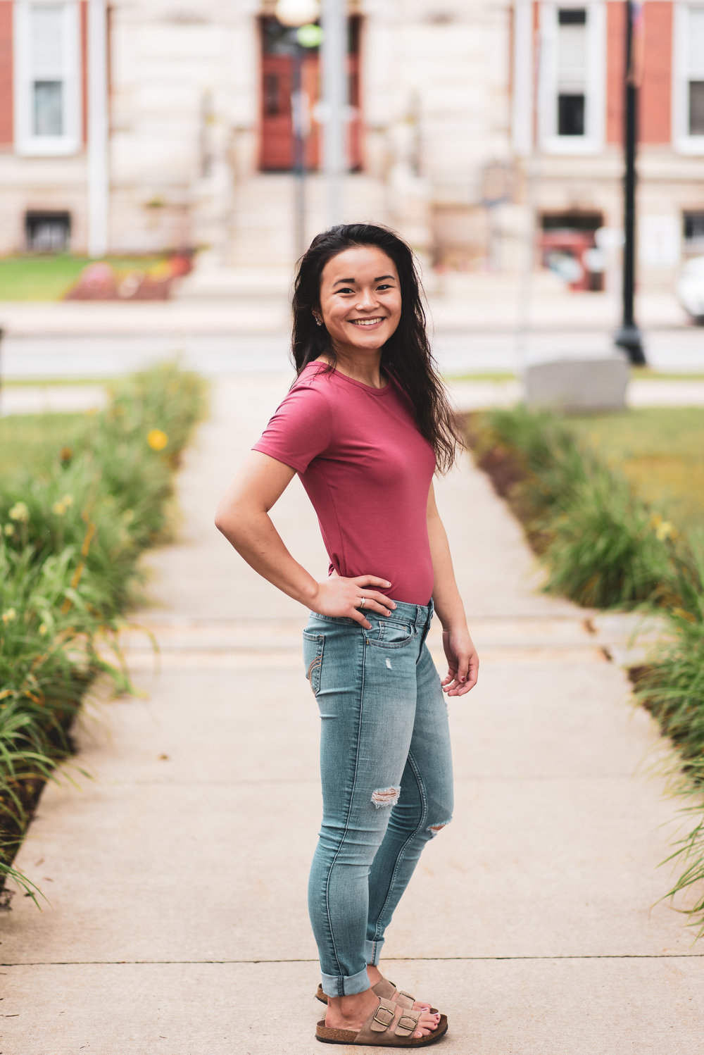 Clarion PA senior portrait model in town square