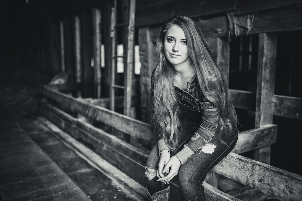 Black And White Long Hair Portrait