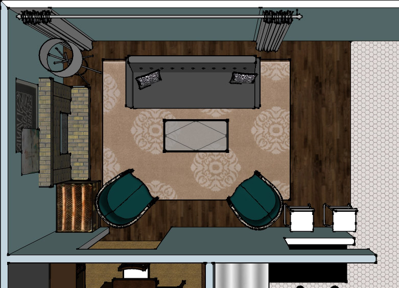 SketchUp - Living Room Layout