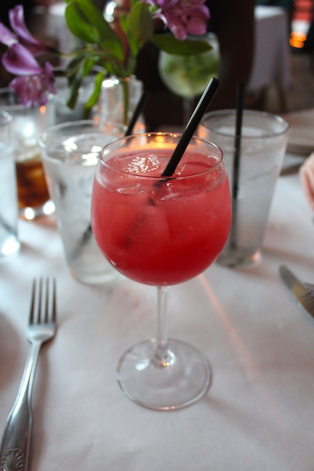 Sobo's watermelon crush, made with fresh watermelon and pinot grigio