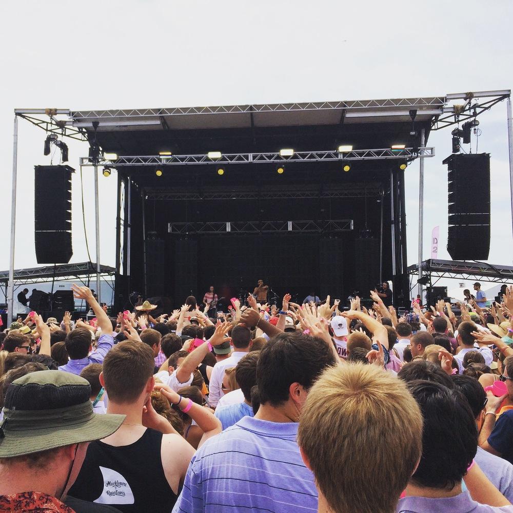 Childish Gambino performing at Preakness InfieldFest 2015.