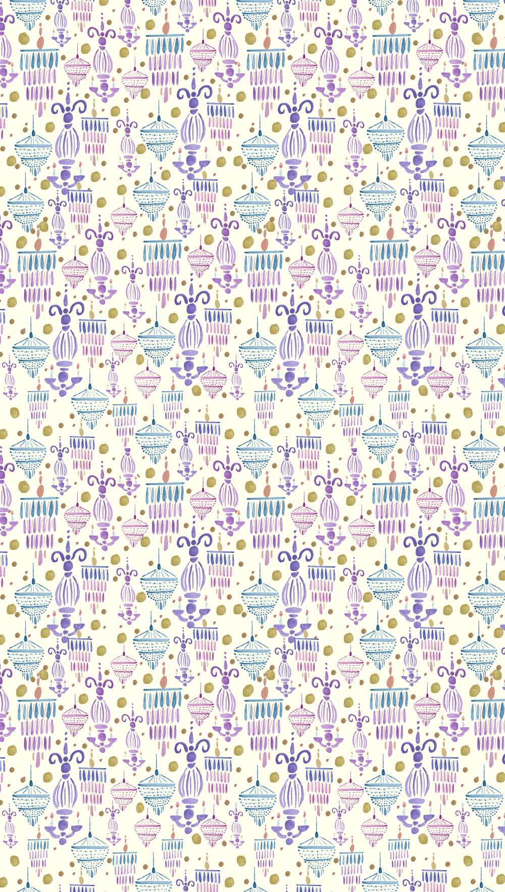 2014. Watercolor painting transformed into repeat pattern in Adobe Photoshop.