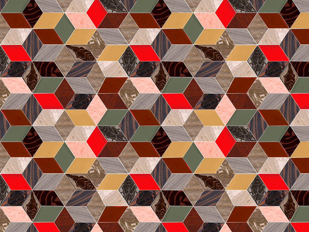 2016. First pattern in a collection created for a collaboration project with PhilaU and Armstrong Flooring. The project mimicked the in depth process in which flooring is created in the industry today. Armstrong approached PhilaU students looking for fresh, modern designs that could be imagined as flooring. Images of actual substrate to be uploaded soon. Imagery created using ink drawings, tessellation pieces, scanned wood finishes. Repeat engineered in Adobe Photoshop.