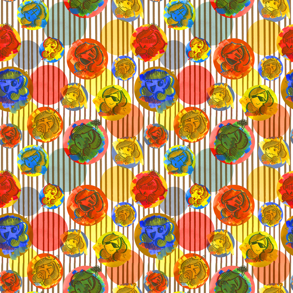 2016. Part 3 of Music Venue Project. This pattern is also meant to represent Pop music. Imagery created using watercolor, marker, and pencil. Repeat created in Adobe Photoshop.