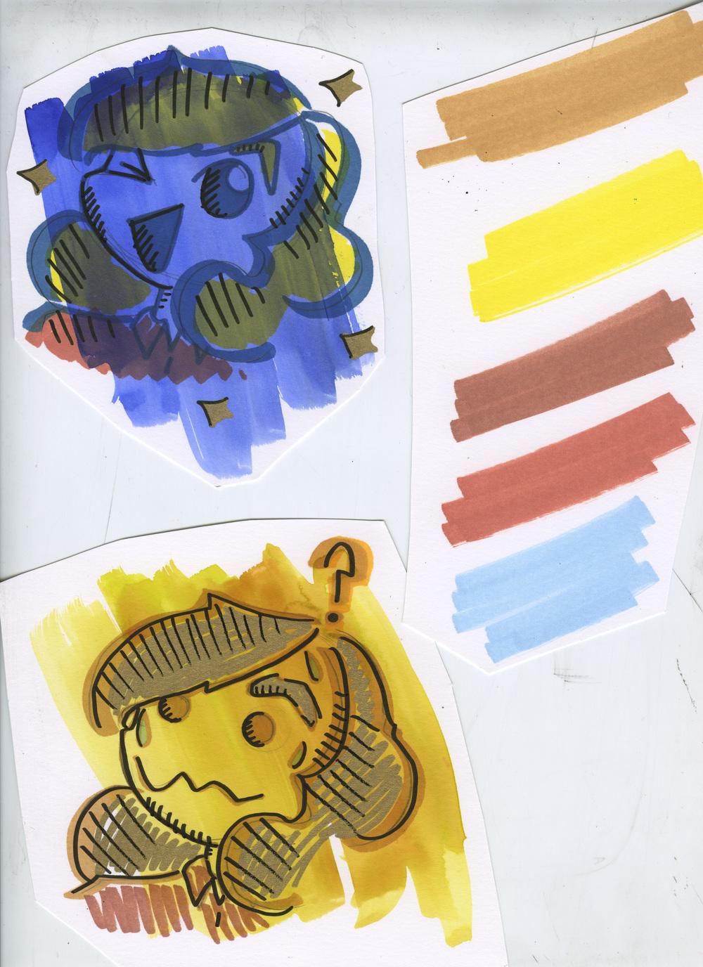 2016. Sketch for the Music Venue project. Marker, Dr. Marten's dyes, Paint marker.