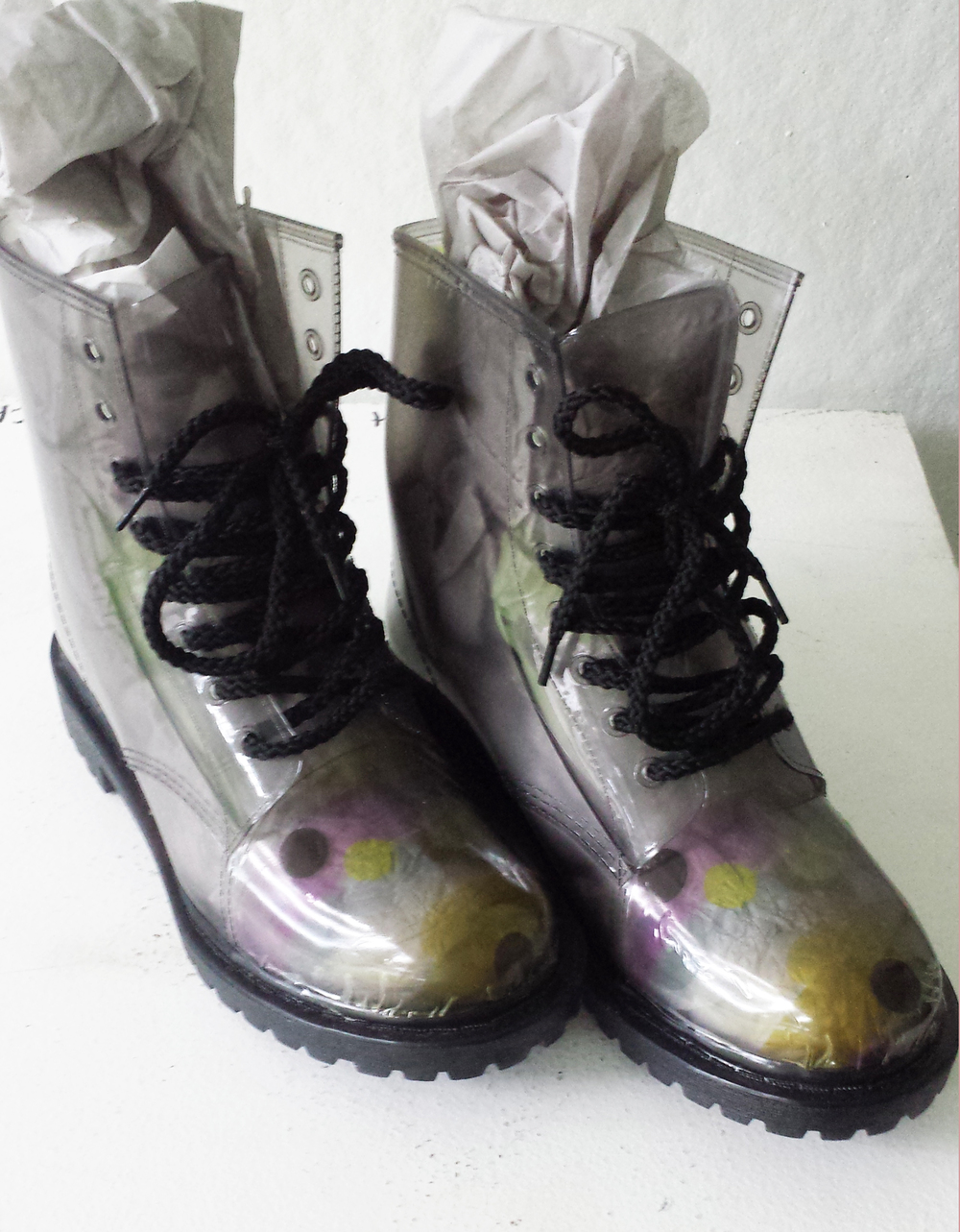 2016. Hand wrapped rain boots. Photoshop repeat printed on vinyl wrap using latex printer.