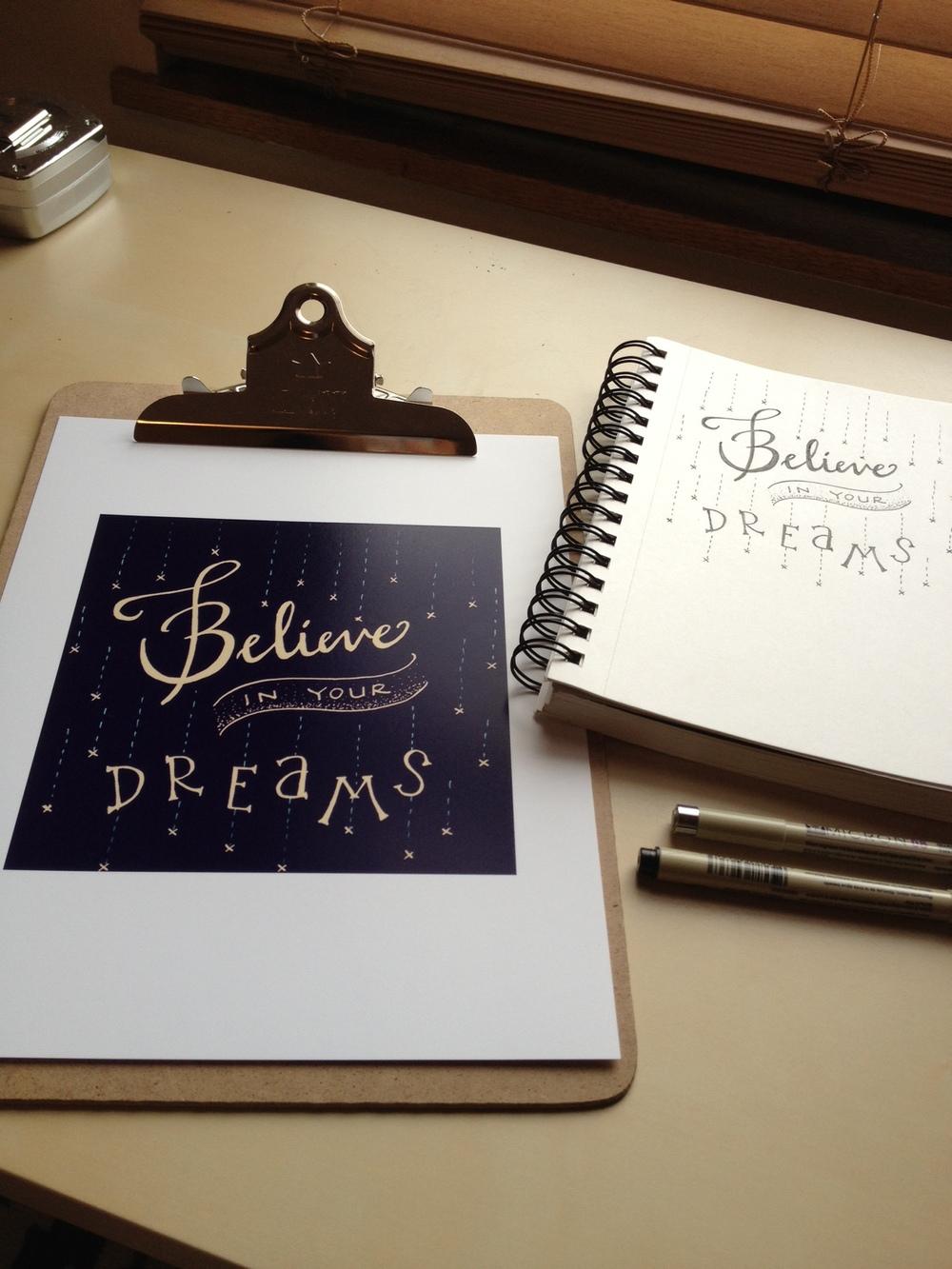 Last night's lettering: digital print & original pen+paper version!