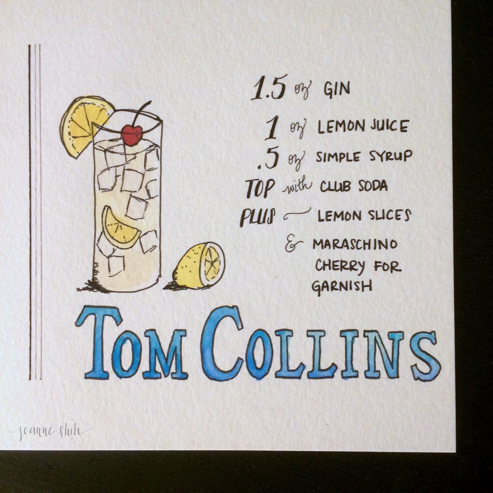 Did you know? The Tom Collins has been around since the late 1800s! (Which is why I chose to letter the name in a Bookman style, which is from around that time.) Thank you Wikipedia for educating me on the history of this cocktail!