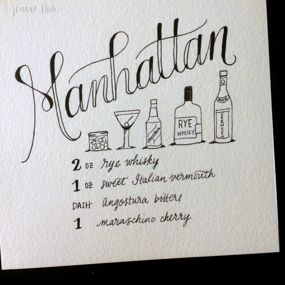 I've gotten a couple requests for this classic! I'm not a big Manhattan drinker, but I will say that lettering these cocktails has made each of them a bit more meaningful to me... so maybe I'll have to try more Manhattans!