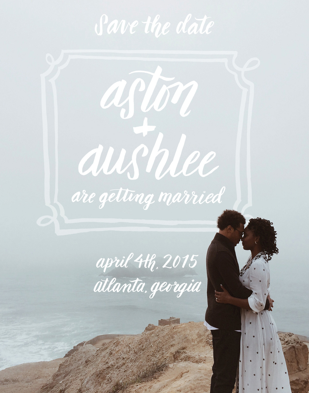 custom hand lettered save-the-date design