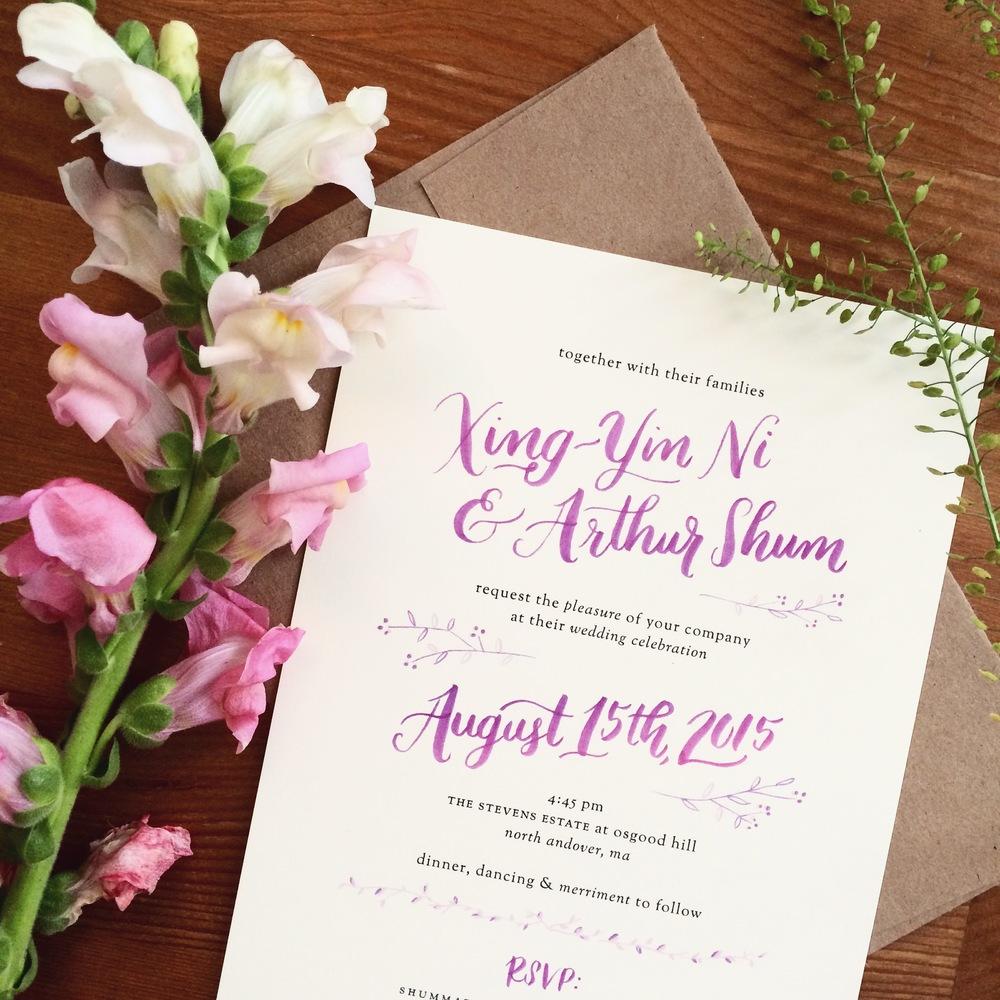 custom invitation for August wedding