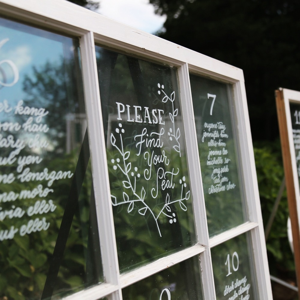 Wedding Signage - Seating Chart on Vintage Windows