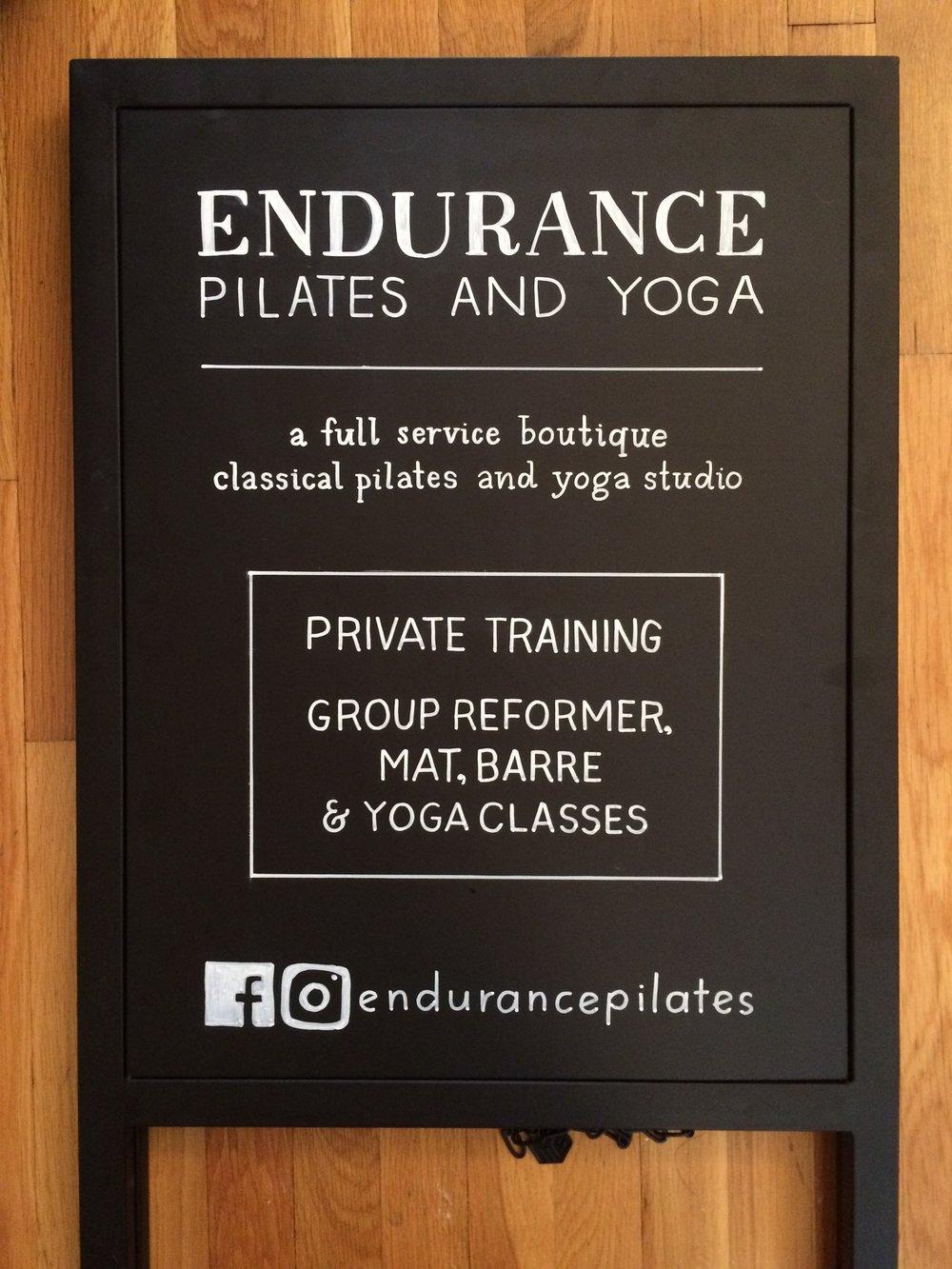 Sidewalk Signage Lettering for Endurance Pilates