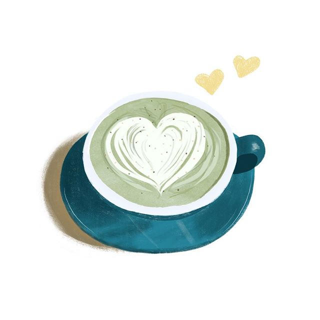 matcha latte to start your weekend 🍵💛 I'm off to bed now after resisting to nap all day... 🤖 #jetlagged #joanneshihillustration