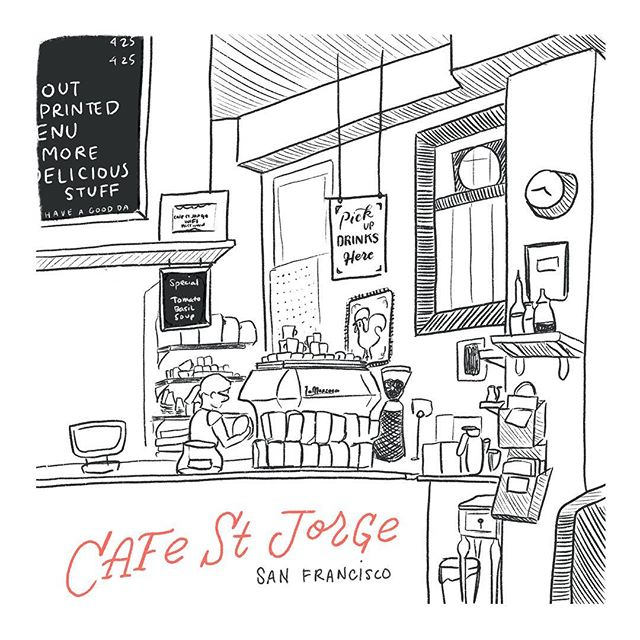 happy Friday from San Francisco 💛☕️ first cafe sketch of the year! swipe to the third pic to see a sketch I did two years ago of the same place, diff corner :) #joannegoessketching #joanneshihillustration